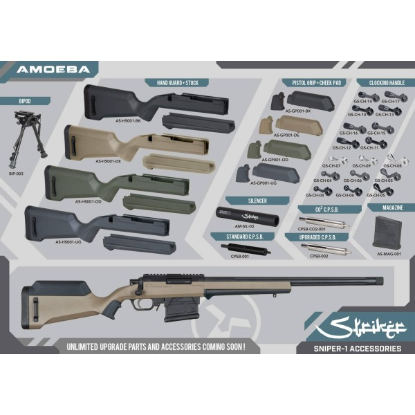 ARES- Amoeba Sniper STRIKER Noir SNIPER Airsoft-18169